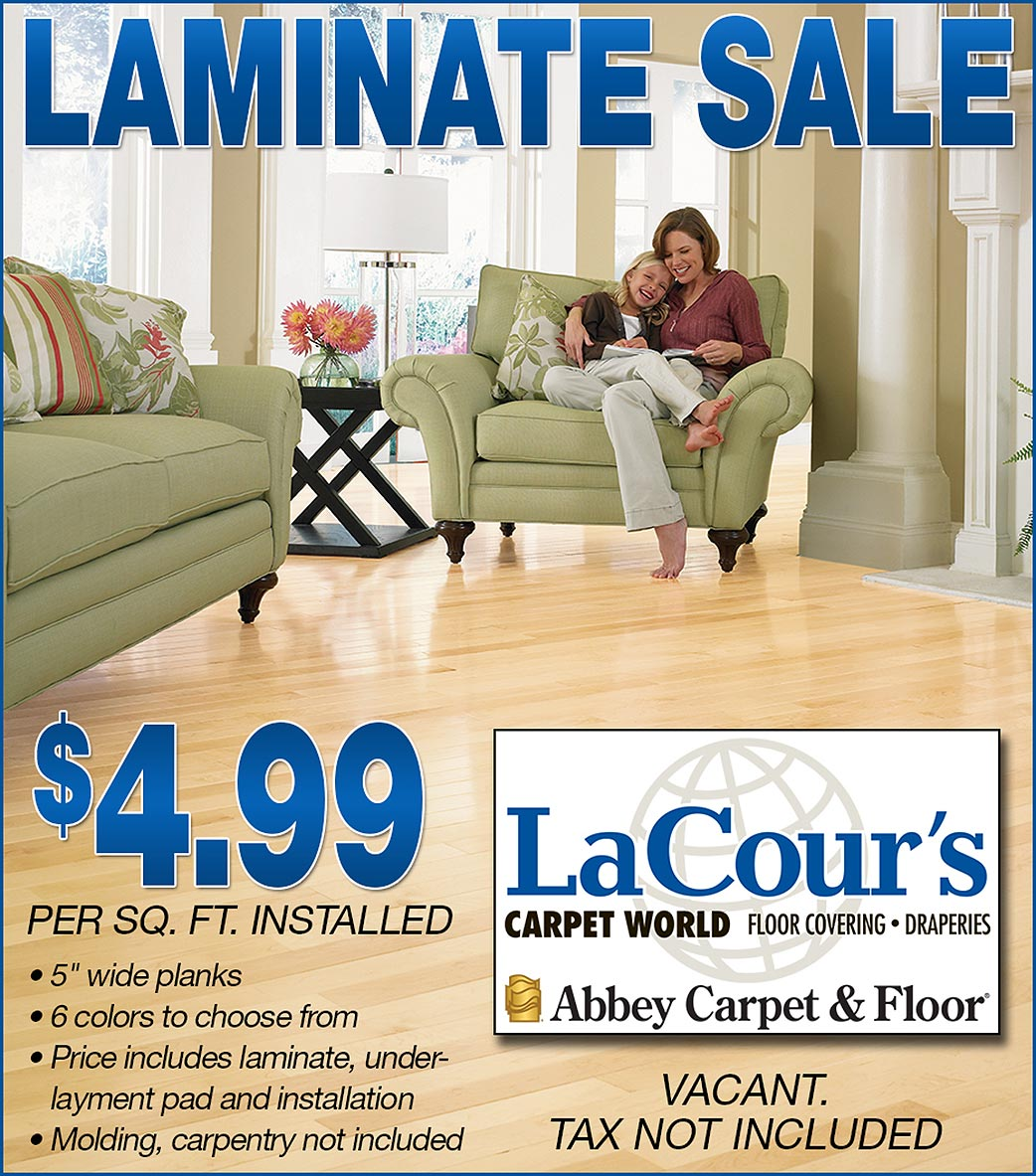 "Laminate Sale at LaCour's Carpet World in Baton Rouge - $4.99 sq/ft installed 5"" wide planks - 6 colors to choose from - price includes laminate, under-layment, pad and installation - Molding & carpentry not included - tax not included"